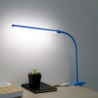 Blue Flexible Night Reading Study Table Clip Clamp Plastic Led Desk Lamp