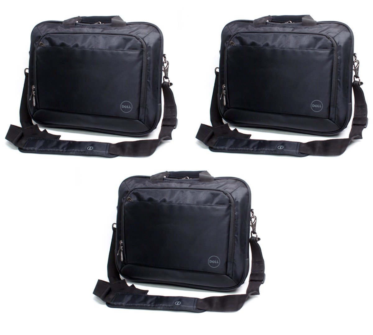 """3-LOT Bulk Genuine Dell T43DV 14""""Inch Black Nylon Business Work Office Laptop Notebook Carry-Case Bag Tote Messenger Bag with Shoulder Strap Fits up to 14"""" Screens or Smaller"""