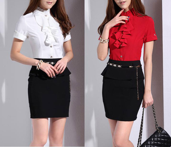 Women Plaid Blouse Pattern Short Sleeved Formal Blouses And Skirts ...