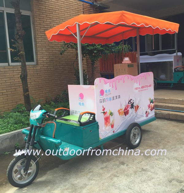 Custom made electric bicycle cart for donut, ice cream