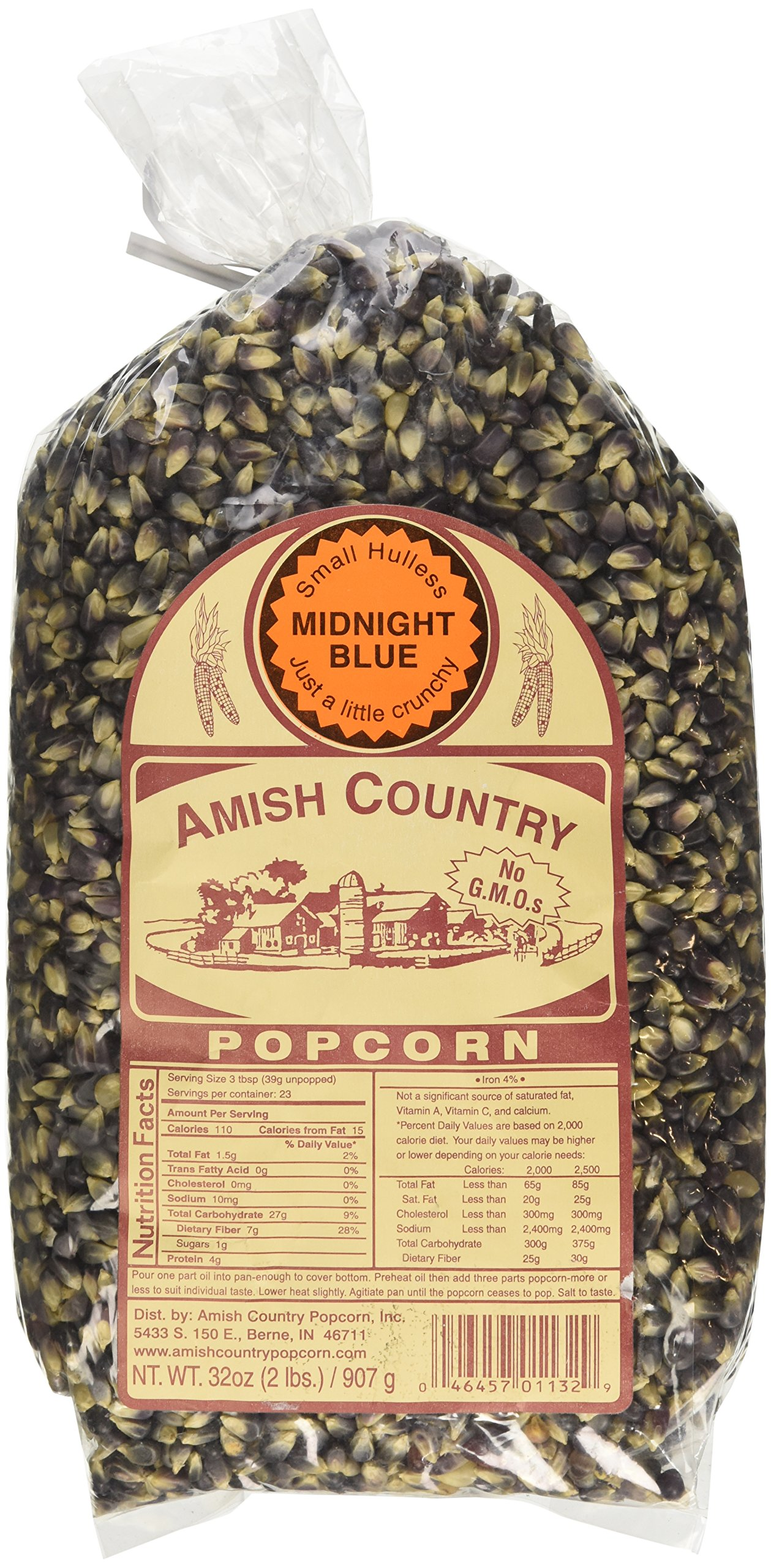 Amish Country Popcorn - Midnight Blue Popcorn- 2 lb Bag Old Fashioned, Non GMO, Gluten Free, Microwaveable, Stovetop and Air Popper Friendly