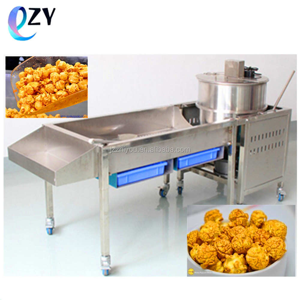 201 stainless steel commercial kettle hot air popping popcorn making machine with bucket and kernels