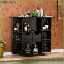 Home Trinity Black Fold Away Wine Bar/Wooden Wine Cabinet/Homex_FSC/BSCI Factory