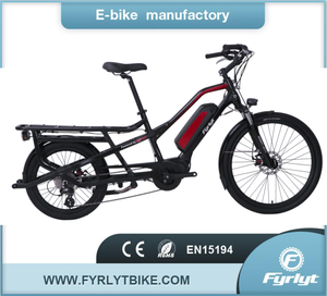 mid drive electric family cargo bike bicycle with rear carrier ebike with  box