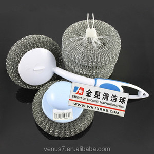 JX-WN eco-friendly stainless steel pot scourer with long plastic handle