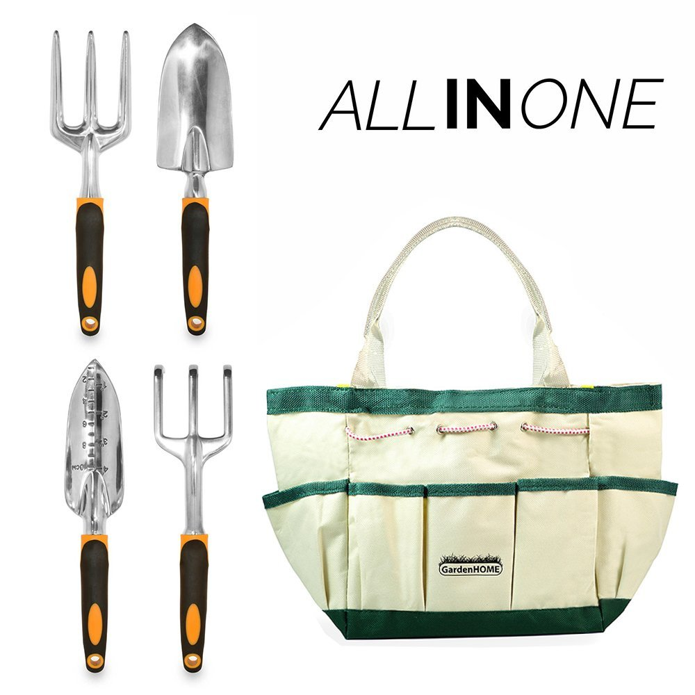 GardenHOME™ Gardening Tools, Garden Tools, Garden Tool Set, 5 Pieces Kit Gardening Gift Set, with 4 Heavy Duty Cast-Aluminium Tools and Garden Storage Bage Bag