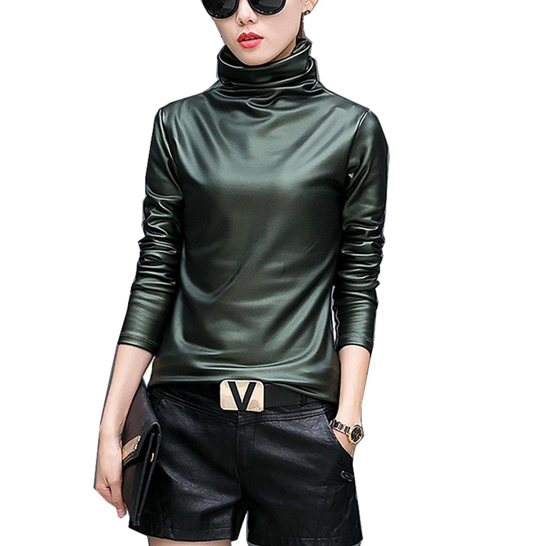 8c9da6a8fea Buy Plus size women blouse fashion elegent Turtleneck long sleeve shirt  female tops autumn winter pu Leather blusas femininas in Cheap Price on  m.alibaba. ...