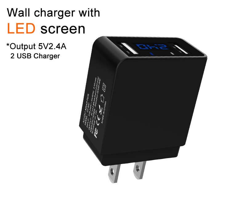 Europe phone charger 5v2.4A LED wall charger CE ETL hot selling on amazon