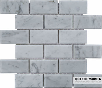 24 Honed Carrara White Marble Bevel Subway Tile Buy Carrara White