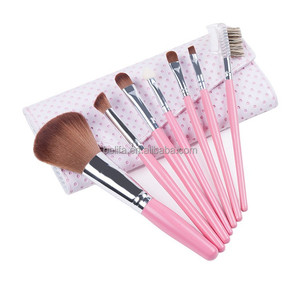 7 PCS professional pink travel size make up brush set