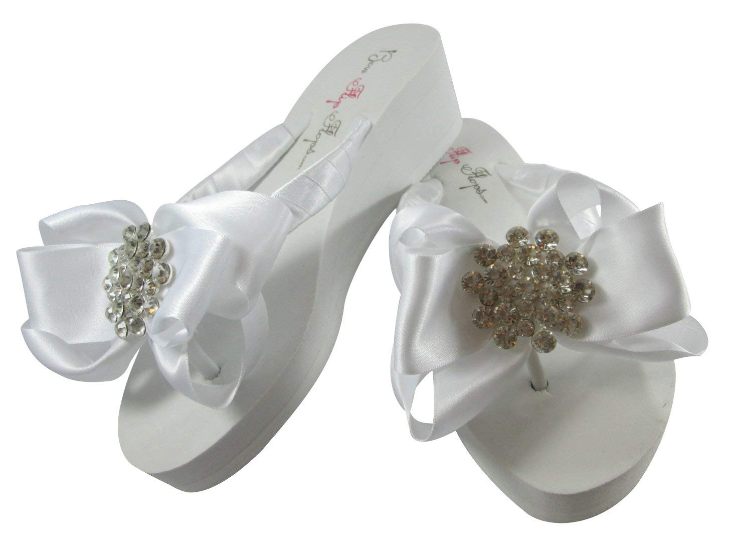 e7cc09bc39a56 Buy Bridal Flip Flops with I Do Glitter Satin Bows on White Flat ...
