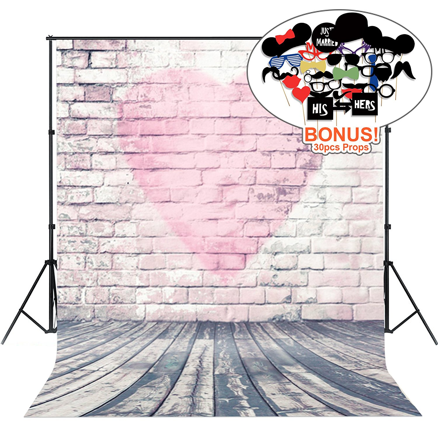 Photo Backgrounds with Photo Booth Props, MeeQee 5X7ft Photography Backdrop Brick Wall Pink Love Photography Background for Wedding, Party, Mother's Day, Baby Shower, MQ-VA1