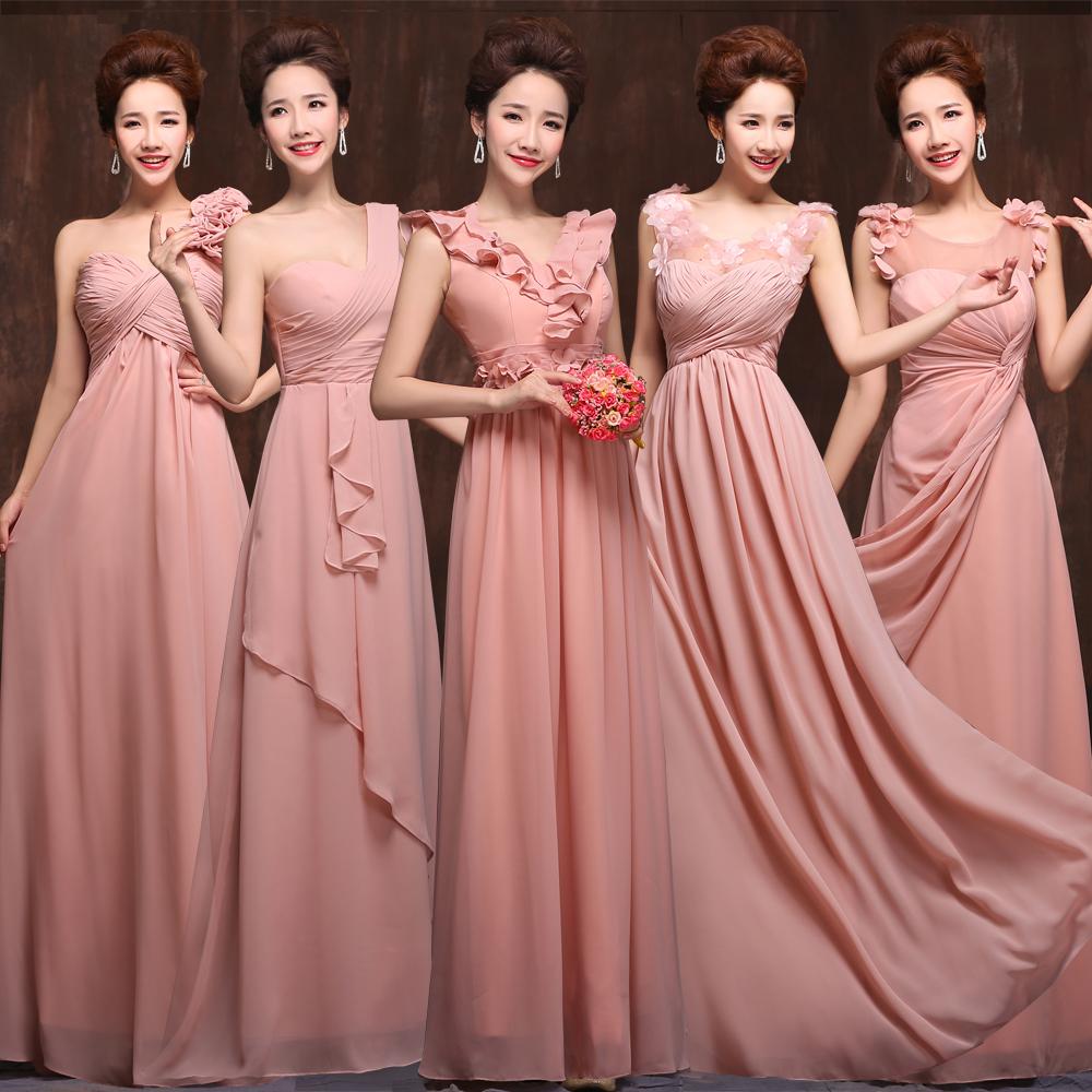 2015 new 5 styles long chiffon old rose pink blush ...