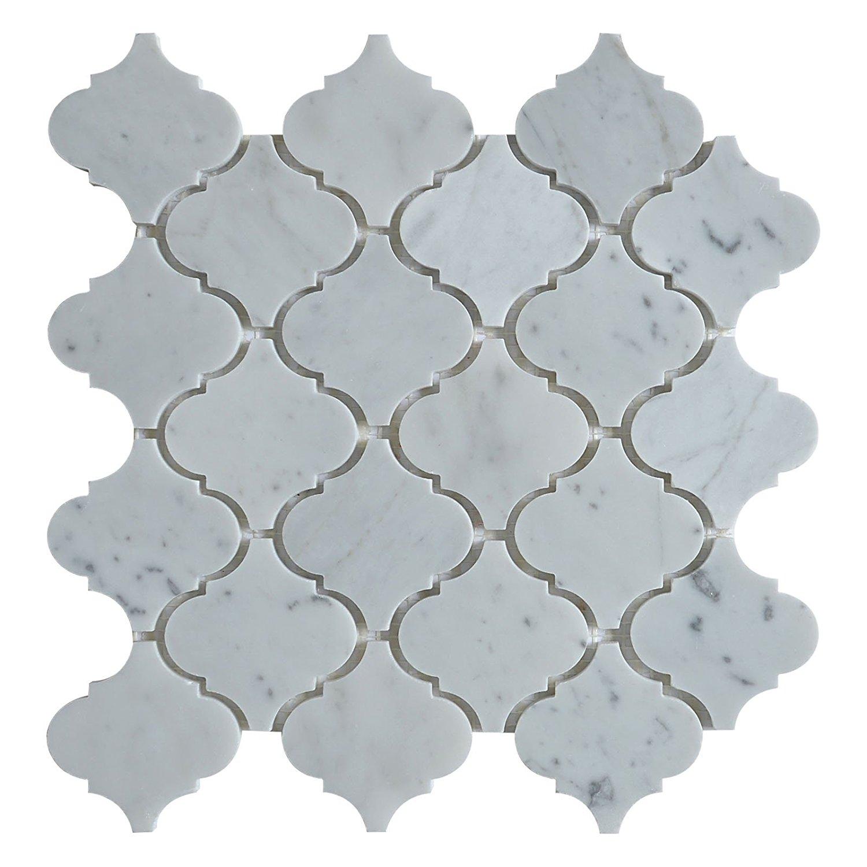 "Marble Mosaic Tile, ""Lantern Collection"", Carrara White MM9201 Size: 10 1/2""X12"" Polished"