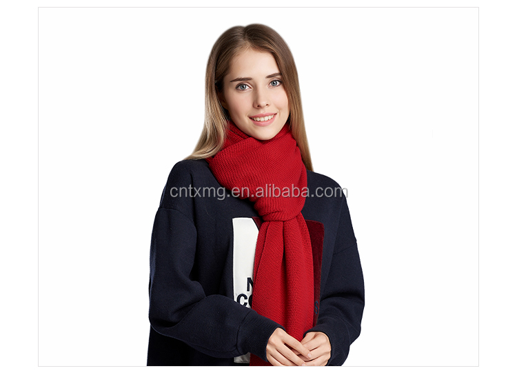 Custom solid color women winter long stripe pattern shawl wool scarf