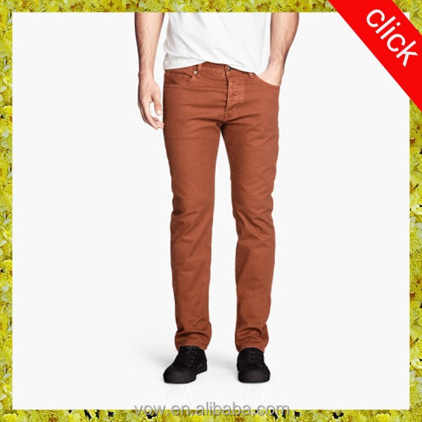 2016 latest design men five pockets skinny jeans with kinds of colors