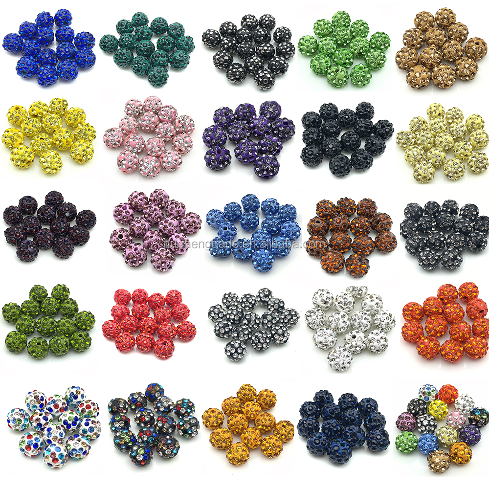 Wholesale Micro Pave Disco Crystal Shamballa Beads Bracelet Spacer for Jewelry Making Beads