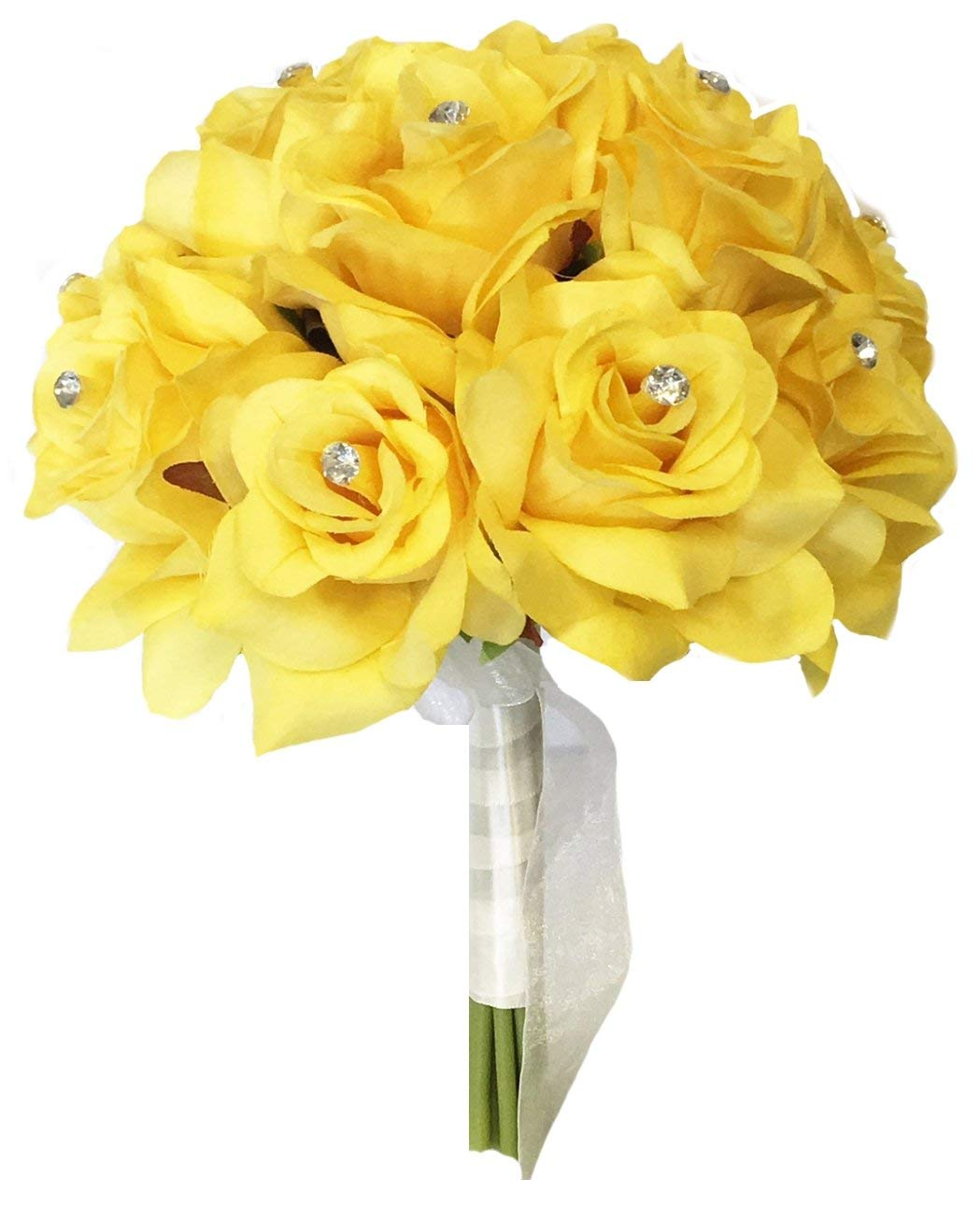 "8"" Wedding Bridal Rose bouquet - One Dozen Roses With Rhinestone - Artificial Flower Bridesmaid Toss (Yellow(Ivory ribbon))"