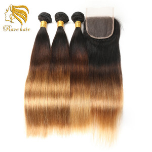 Lsy Super Hotselling Cyber Monday Ombre 3 Tone Color 1B 4 27 Overnight Shipping Virgin Peruvian Bundles And Closures