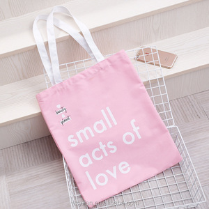 Ins pink eco-friendly cotton canvas tote bag shopping bag with your logo
