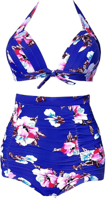 ba63171fb7cee Pandolah Women's New High Waisted Plus Size Polka Vintage Bikini Sets  Swimwear