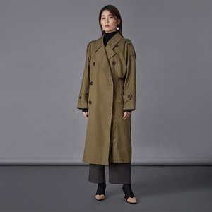 2019 spring women double breasted long custom made trench coats