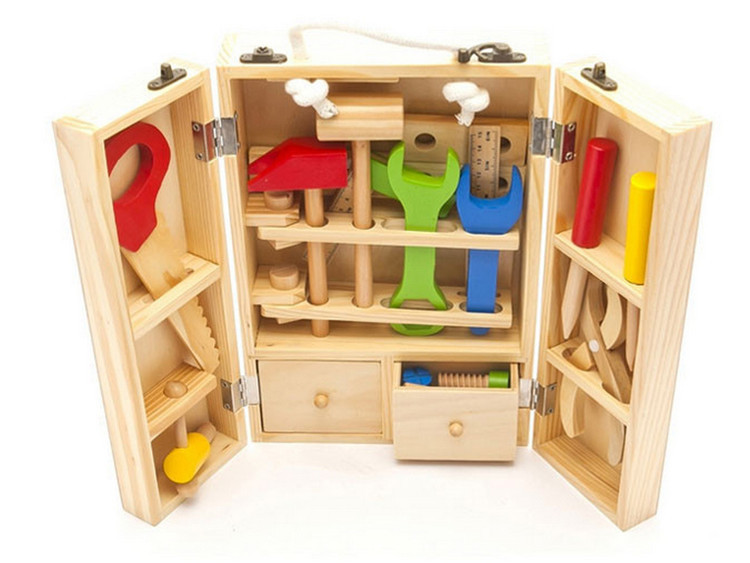 Boys toys wooden power workshop kit/carpenter tools/garden tool kids toys wooden kits toolbox birthday gift