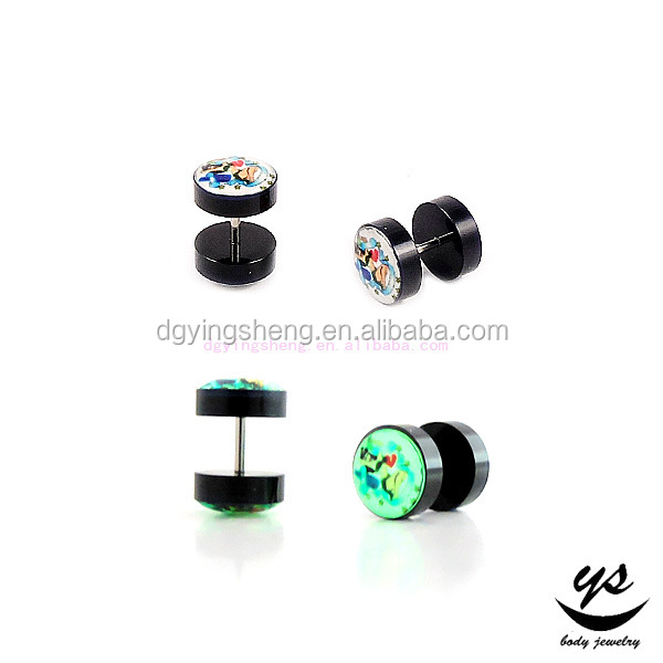 charming glow in the dark ear fake plug with picture inlay