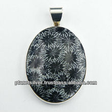 Oval Black Flower Coral Pendant Bezel Set In Sterling Silver