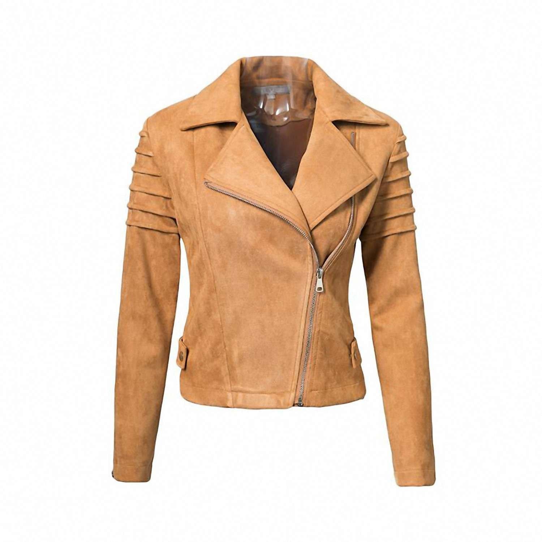 8ab0f830a08e6 Get Quotations · Jongood Stylish Suede Leather Womens Jacket Ruffle Long  Sleeve Women Coats Female Fuax Coats Outerwear