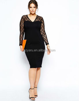 Latest Casual Sexy Lace V Neck Long Sleeve Women Plus Size Knee Length  Dress Oem/odm Guangzhou Manufacturer , Buy Santa Costume Sexy Long  Sleeve,Long