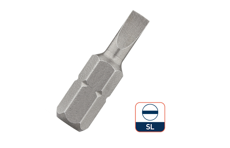 25mm 1/4 Inch Hex Shank Insert Slotted Screwdriver Bit