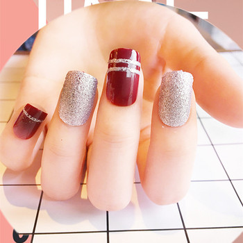 24pcs Set Red Wine Color Glitter Powder Jump Colors Series Finished False Nails Short Design Full Cover Artificial Nail Tips Buy Jump Colors Series