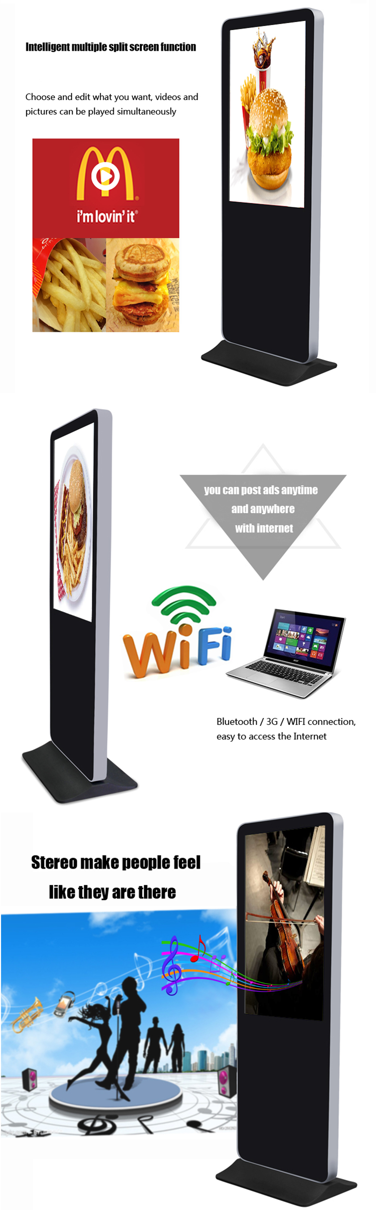 "Phone Charging Touch Screen Kiosk Wireless Panel Video Media Player Tv Led Wifi 3g Android Airport 49 "" Advertising Display"