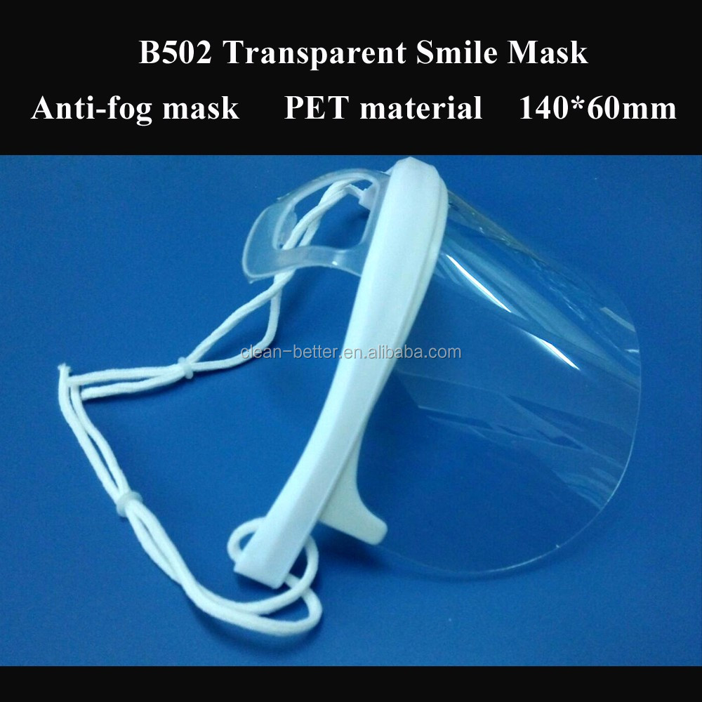Restaurant protective transparent mouth face mask reusable clear plastic face mask