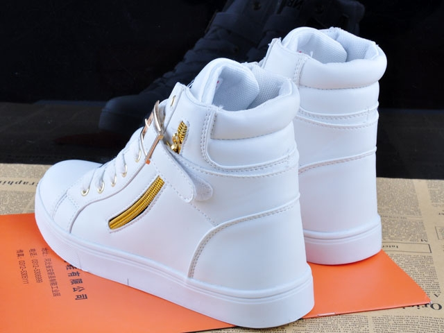 Spring Fashion High-Top Solid Color Zip Lovers Sneakers