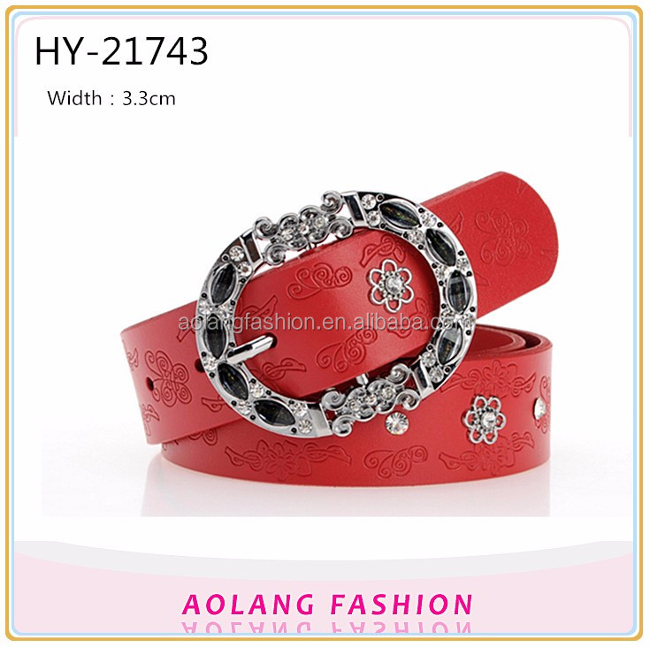 Embossed designs studded rhinestone shiny buckle, red rivet decoration fashion PU belt