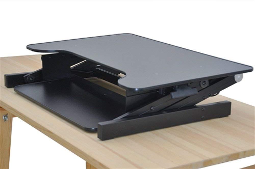 """Ergonomic Adjustable Height Standing Desk Monitor Stand 32"""" Wide Desk Converter in Black Desk Height Adjustable Monitor Standing Stand Sit Black Dual Workstation Svitlife"""
