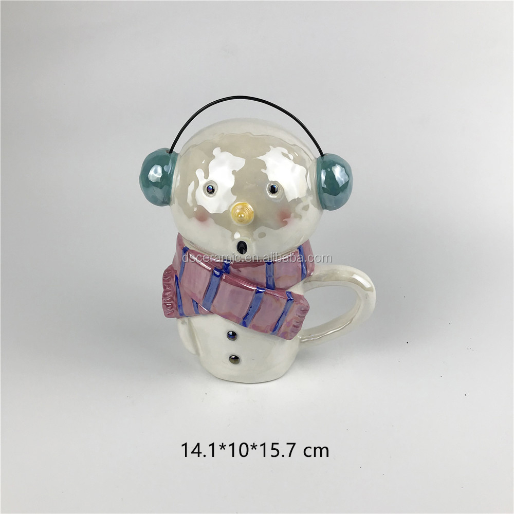 snowman shape christmas ceramic coffee cup mugs with lid