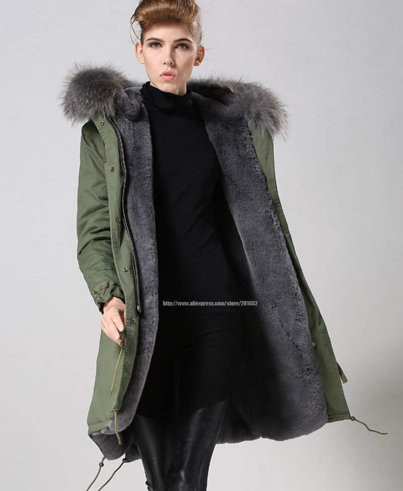 Grey popular winter Long style Faux fur jacket with real raccoon fur hood Guangzhou Jacket Factory