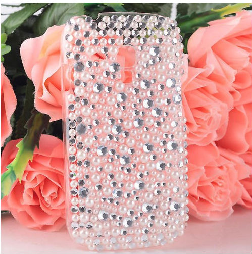 Bling Diamond Pearl White Hard Back Case Cover For Samsung Galaxy S3 mini i8190