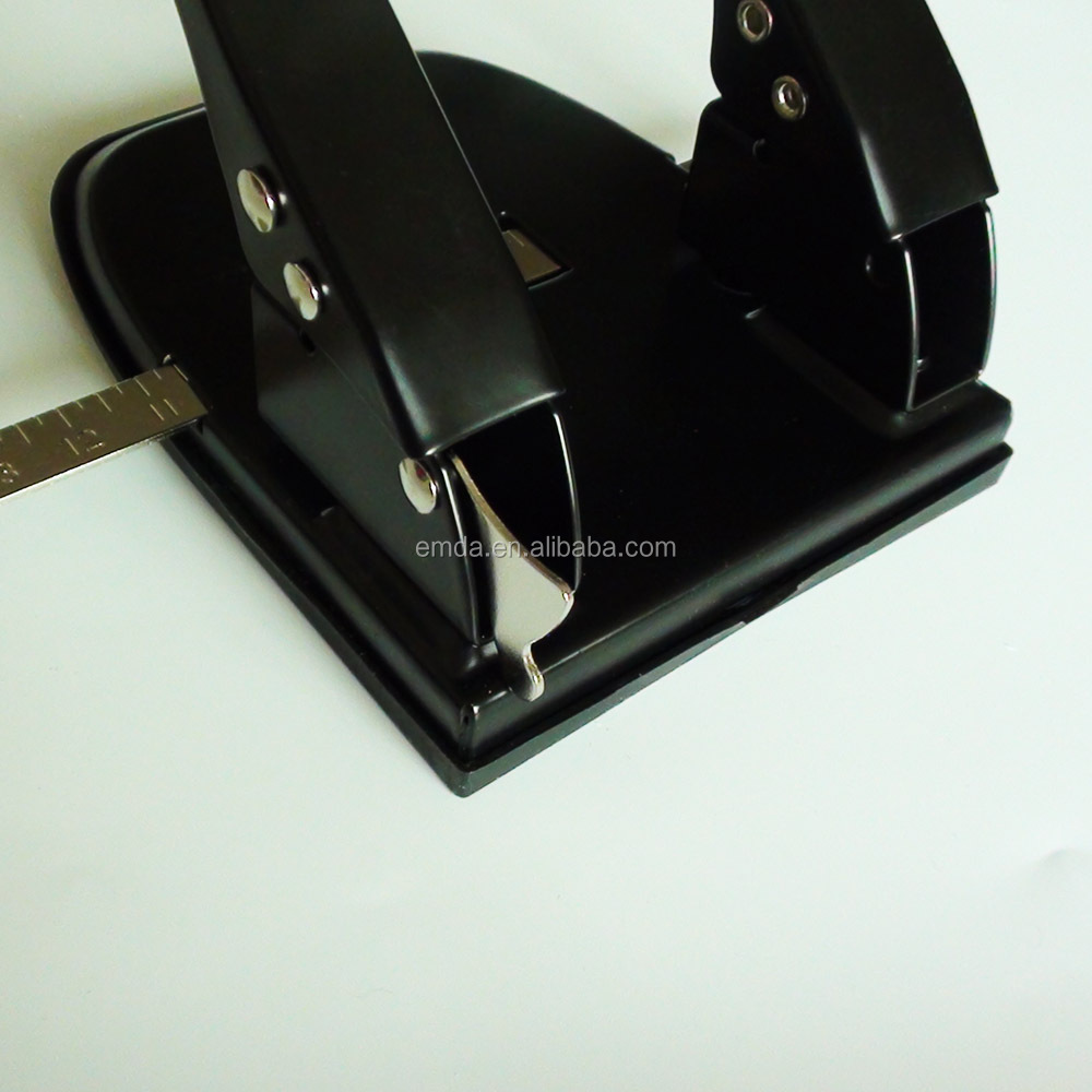 Office desktop 30 sheets 80mm distance manual metal 2 hole paper punch