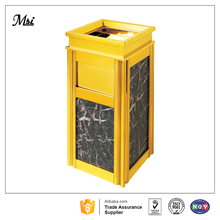 Luxury fashionable hotel lobby golden color standing garbage bin with ashtray