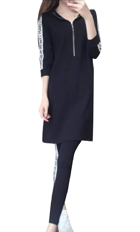 Zimaes-Women Casual Mid-Long Cotton Hood Fashional 2-Piece Tracksuit Set