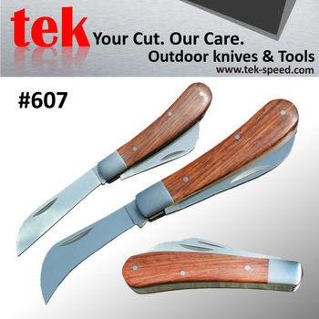 Custom Item Safety Lock Type Double Blade Wood Handle Garden Knife