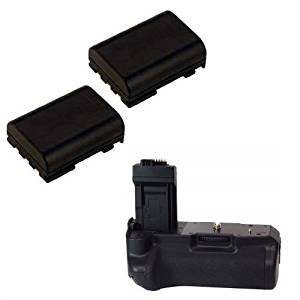BG-E5 Replacement DC Power Battery Grip for Canon EOS Rebel XT/350D + 2 LPE-5 Batteries, Compatible w/LPE-5 or AA Batteries
