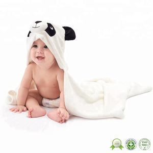 2018 Amazon Hot Sales White Organic Bamboo Terry Baby Panda Hooded Bath Towels Set For Child With Hood