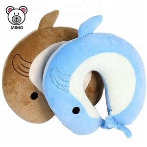 Plush Dolphin Toy Super Soft Neck Head Support Travel Pillow Massage Cushion Cute Kids Stuffed Animal U Shape Travel Pillow Neck