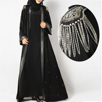 2019 Luxury bell sleeve shoulder pad front opening black new model abaya in dubai kimono with beading pearls