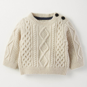 BS807 Ulrich 100% cotton soft touch custom baby kids heavy gauge cable knit sweater